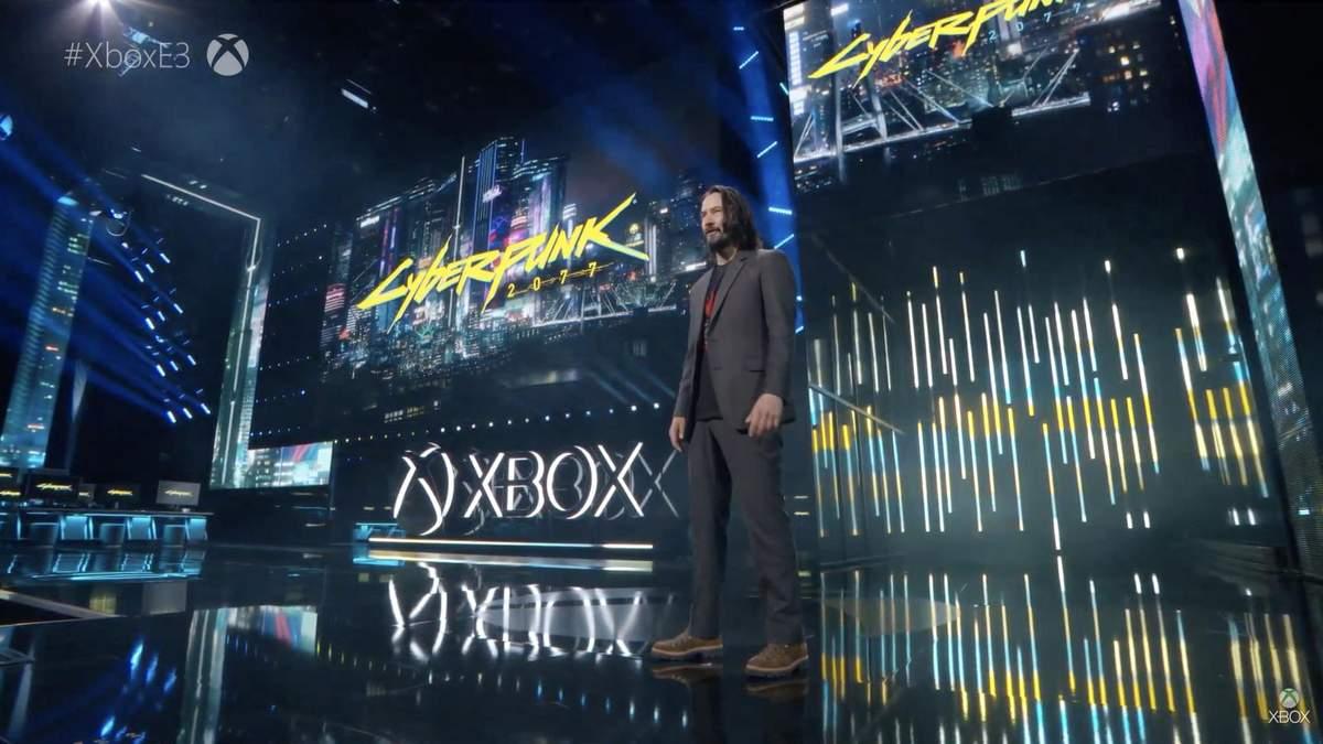 Киану Ривз на презентации игры Cyberpunk 2077, E3 2019