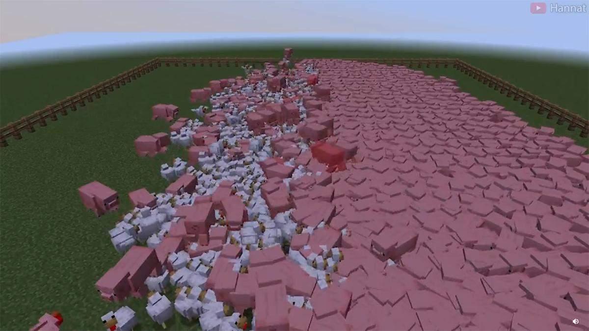 В Minecraft устроили масштабную битву с участием кур и свиней