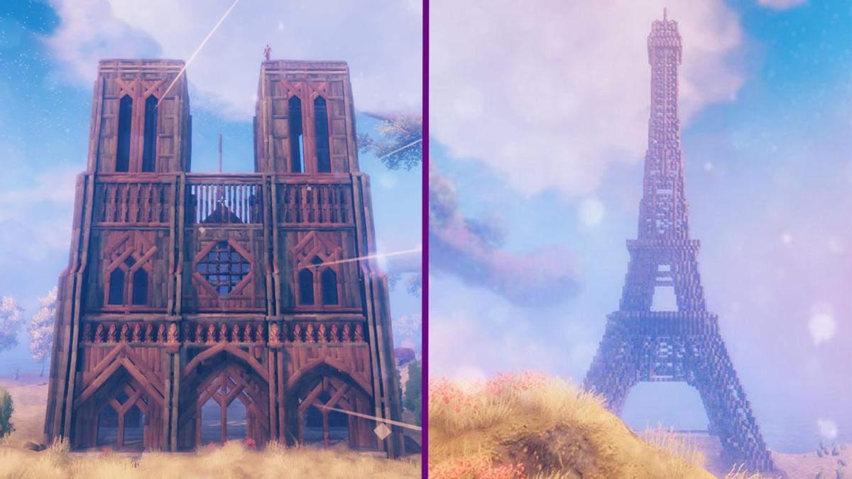 Геймеры воссоздали Эйфелеву башню и Собор Парижской Богоматери в Valheim