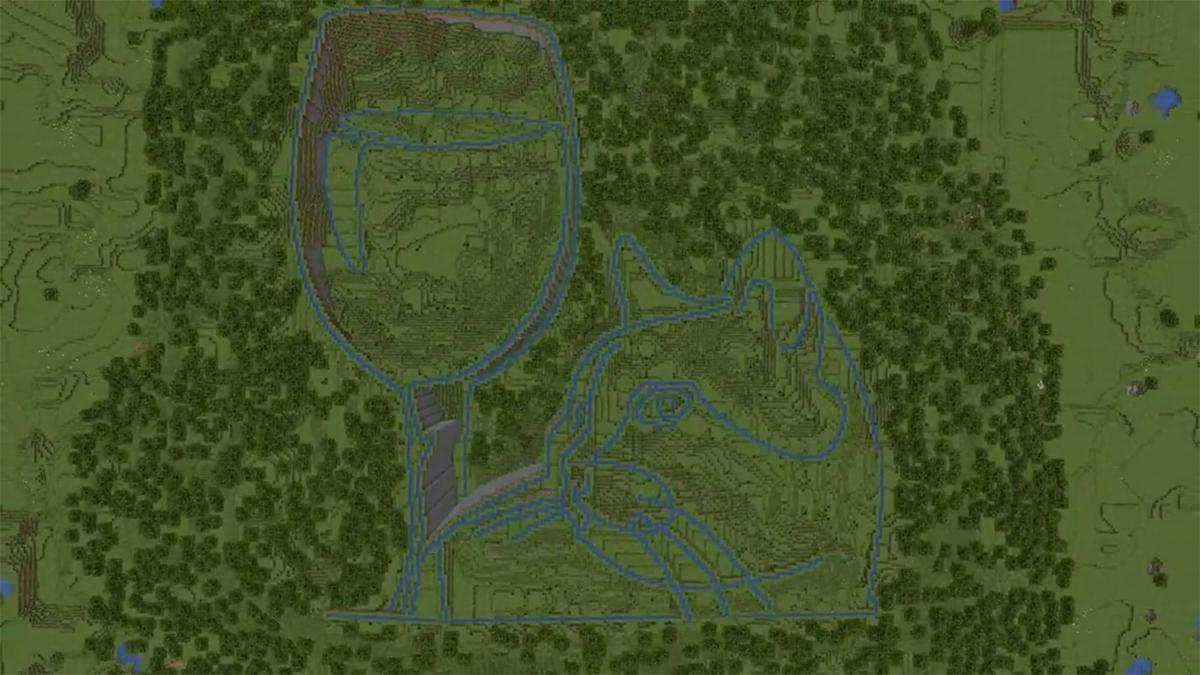 Гравець Minecraft створив неймовірний портрет за допомогою системи каналів та відра води: відео