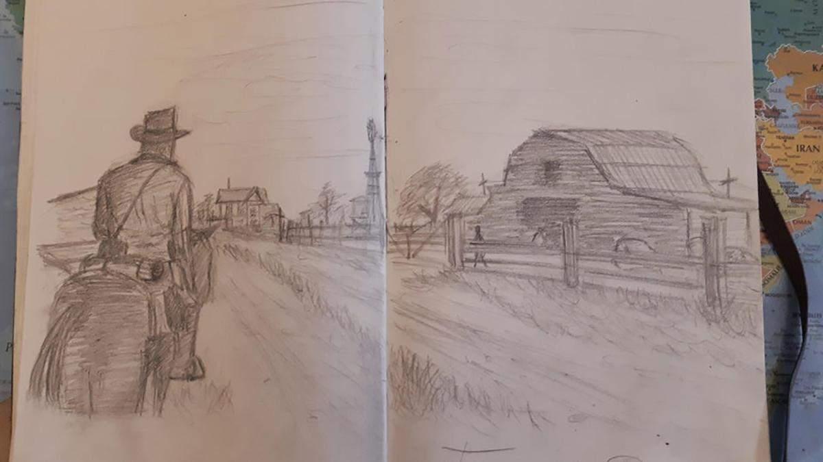 Почти как в видеоигре: игрок в Red Dead Redemption 2 делает зарисовки в стиле главного героя