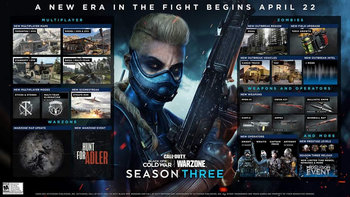 3 сезон Сall of Duty: Warzone и Black Ops Cold War начнется 22 апреля: чего ждать геймерам